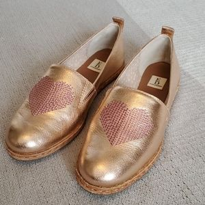 Ellen Degeneres rose gold embroidered heart loafer